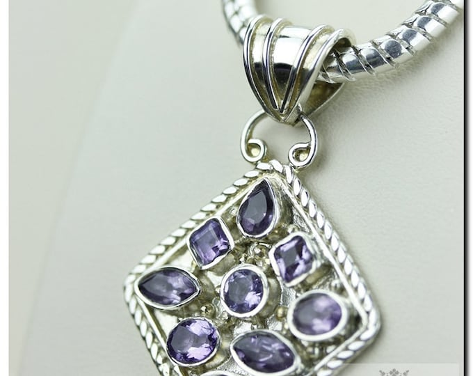 Brazilian Amethyst Vintage Setting 925 SOLID Sterling Silver Pendant + 4mm Snake Chain & Worldwide Shipping