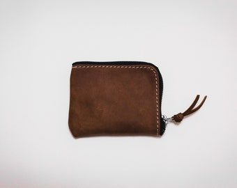 Brown zip wallet / Half zip wallet / Leather zip wallet / Minimalist zipper wallet / Small leather zip wallet / PERSONALIZED