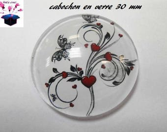 1 cabochon clear 30 mm for pendant or grip bag and bottle opener Butterfly heart theme