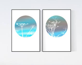 Set of 2 prints Printable turquoise purple wall art Hoop digital Print White flowers prints wall art Blue pattern photo 2 Piece wall decor