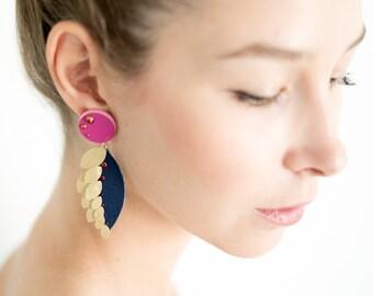 Gold, blue and pink leaf earrings, Statement earrings, Circle earrings, Faux Leather jewelry, Geometric earrings, Metallic earrings