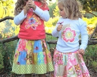 Pink Fig Pattern,  The Patchwork Skirt & t-shirt No. 8   Size 6 M - 10 Years FREE SHIPPING with Fabric purchase