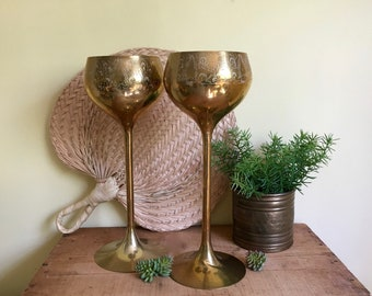 Vintage Tall Brass Goblets, Set of 2, Brass Chalices, 12 inch, Boho Decor