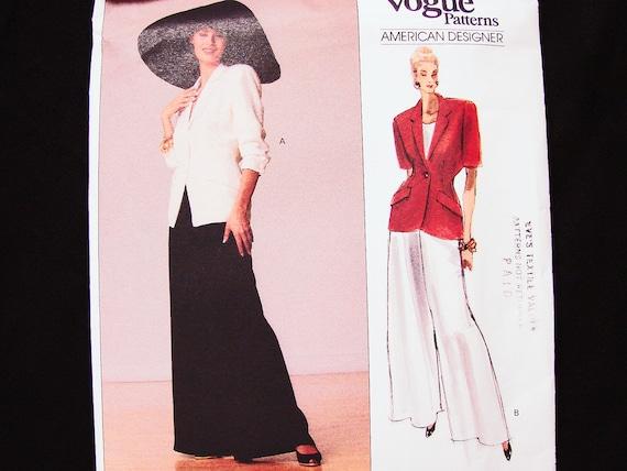 80s VOGUE Jacket, Palazzo Pants Pattern Donna Karan Vogue Designer ...