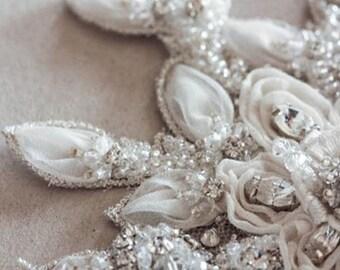 Floral wedding embellished Belt - Fall Leaves (Made to Order)