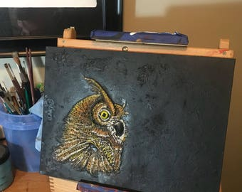 3-Dimensional Sculpted Owl Painting