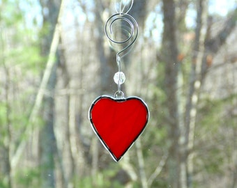 Stained glass heart suncatcher ornament, Mothers day gift under 12, mini red glass heart