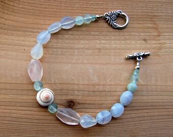 ROSE QUARTZ CHALCEDONY Teardrops Blue Chalcedony Flourite Blue Quartz and Lisway Shell Centerpiece Original Bracelet.
