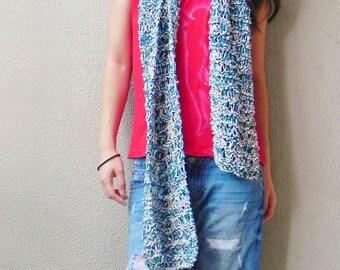 Handknit, Chunky, Scarf, Pink; Green; Aqua; Cotton;  Scarf, Fall, Spring; Long Scarf, Pastel Colour