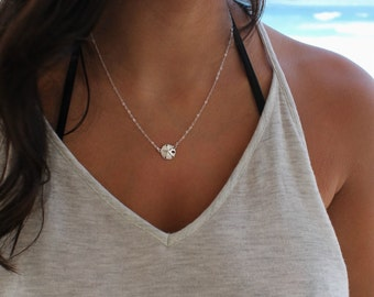 Sand dollar jewelry etsy silver sand dollar necklace 925 sterling silver beach wedding sea life simple aloadofball Image collections