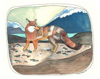 Art - Fox Print - Grey Fox Art Print - Print of Painting - Fox Artwork - Northwest Animal Art - Animal Artwork - 5x7 Print - Grey Fox