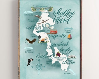 Whidbey Island Map Print
