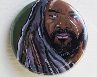 King Ezekiel The Walking Dead Digital Artwork Portrait 38mm Badge