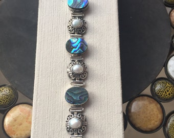 Silver, abalone, and pearl bracelet