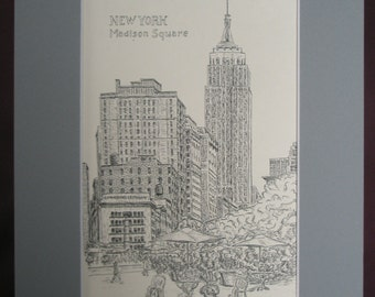 Madison Square Park with the Empire State Building in New York. Print of the original ink drawing 9 x 12 in.