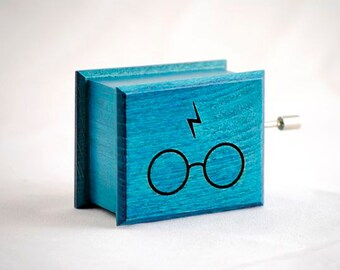 Glasses and scars lightning Harry Potter music box turquoise  handmade wooden music box