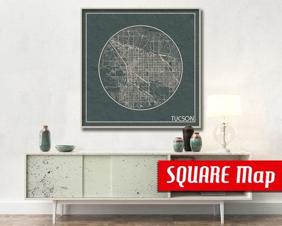 Tucson az square map tucson arizona poster city map tucson solutioingenieria Gallery