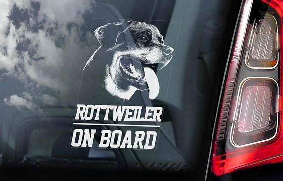 Rottweiler on board car window sticker rottie dog sign