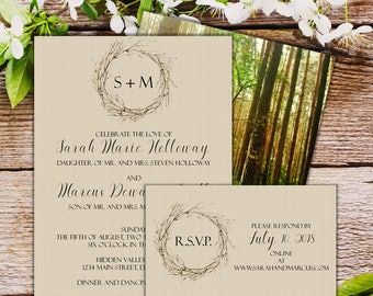 Invitation Suite - Crown of Thorns Linen - Qty 25