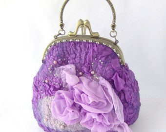 Felted purse wedding small radiant orchid purple flower pink Rose