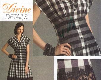 Vogue 8353 Tucked Waist, Wing Collar, Cap Sleeve DEVINE DETAILS Dress Size 6 - 8 - 10