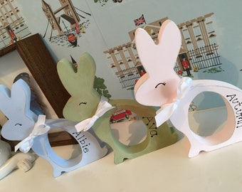 Personalised kinder egg holder - Easter Bunny Rabbit - Shabby Chic