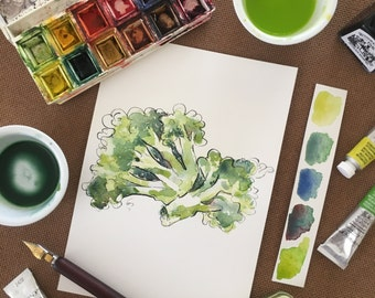 Gift for chef, Original watercolor broccoli painting, Broccoli Illustration, vegetable painting, watercolor veggies, kitchen art, mum gift