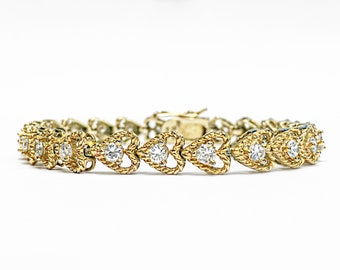 Excellent Sterling silver Gold-Overlay Tennis Heart Bracelet w/ CZs