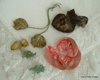 Small Bundle of Antique 1920's Ribbon Work Remnants Perfect for Re Purpose/Dolls Clothes