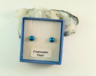 Midnight Blue Freshwater Pearl Button Stud Earrings Sterling Silver 6-7mm