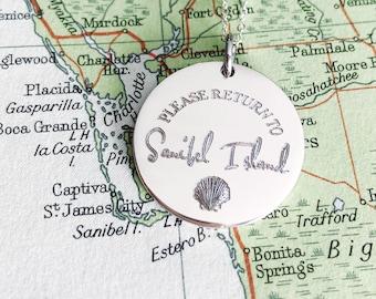 Please Return To - Sterling Silver - Sanibel Island - Customized Pendant