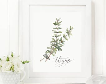 Thyme Herb Watercolor Print | Watercolor Herb Print Set | Watercolor Herb Painting | Thyme Artwork | Watercolor Herb Kitchen Decor