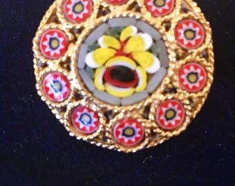 Vintage Micromosaic Floral Center Brooch.