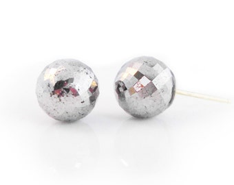 Pyrite Faceted Globe Studs | READY to SHIP | Semi Precious Modern Stud Earrings, 14k Yellow Gold, Cocktail Earrings, Black & Silver Earrings