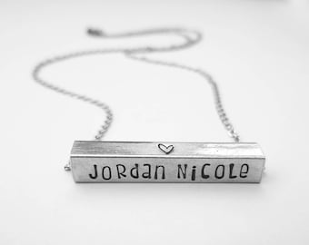 Personalized 4 Sided Horizontal Bar Necklace - New Mother Gift - Customized Name & Date Jewelry