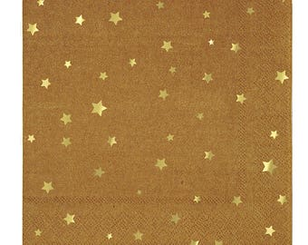 Fancy Gold Foil Kraft Napkins/ Star Paper Napkins/ Gold Star Napkins/ Kraft Napkins