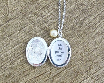 Dr Seuss Quote Locket Necklace Oh The Places You'll Go Graduation Customized Jewelry Jewellery Two Cheeky Monkeys Typography Personalised