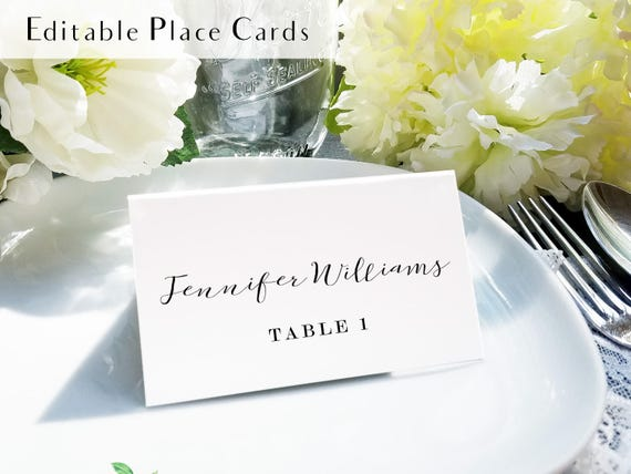 Calligraphy Place Setting Card Printable Escort Card Name - Place card setting template