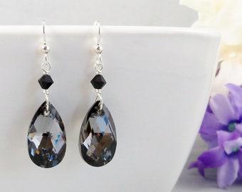Black & Grey Crystal Teardrop Earrings, Swarovski Silver Night and Sterling Silver Handmade Wedding Jewelry