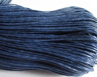 5 meters of dark blue waxed cotton thread 1 mm