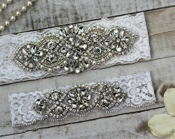 White Wedding Garter Set NO SLIP grip vintage rhinestones, pearl and rhinestone garter set B01S-C02S