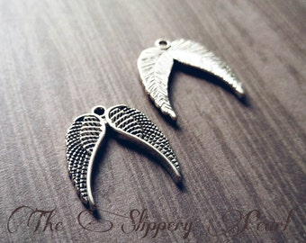 Angel Wing Charms Pendants Double Wing Charms Antiqued Silver Wing Pendants Angel Wings 10 pieces 23mm Wholesale Charms