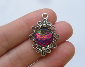 4 Mermaid scale dark pink charms antique silver tone SC188