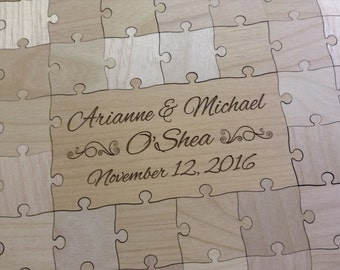 60 Pieces Rustic Wood Wedding Guest Book Puzzle - Custom Made