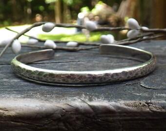 Silver cuff bracelet / hammered cuff / sterling silver cuff / wide cuff / gift for her / jewelry sale / rustic cuff / silver bracelet