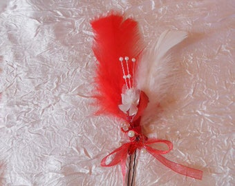 Peak bun, for bride or maid of honor ceremony red / white