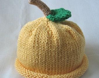 Boston Beanies Yellow Lemon Hat, Knit Cotton Baby Hat