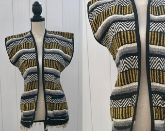 Vintage Blanket Vest, Vintage Black and Yellow Mexican Blanket Poncho Vest, Vintage Saddle Blanket Style Vest