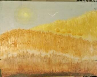 Grasslands Sea Shore Landscape Original Large Painting