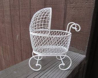 Vintage Mini Wire Baby Buggy - Great for Baby Shower Favors